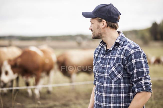 Agricoltore premuroso in piedi sul campo mentre gli animali al pascolo sullo sfondo — Foto stock