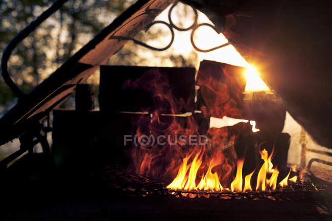 Fire burning in grill on sunset background — Stock Photo