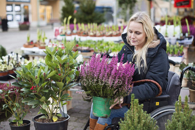 Disabled woman in wheelchair choosing plants at nursery — Stock Photo