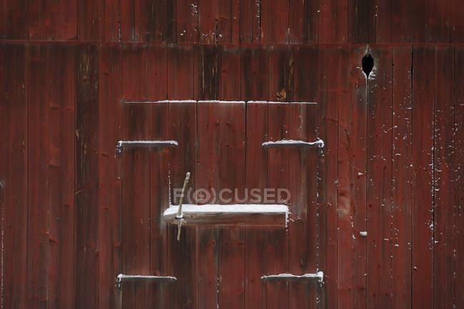 Full frame shot of wooden door with snow — Stock Photo