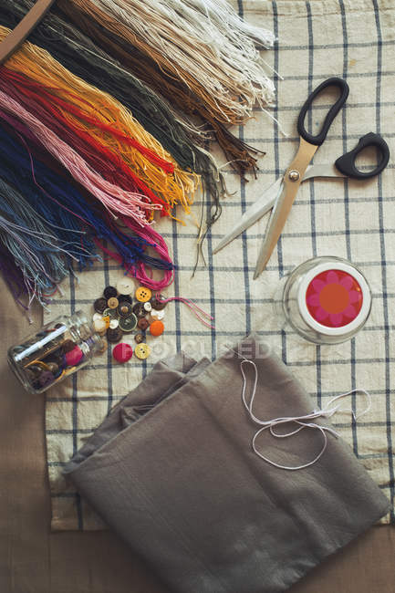 Directly above shot of sewing tools on table — Stock Photo