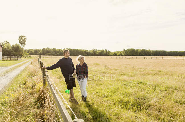 Couple looking away while standing on grassy field against clear sky — Stock Photo