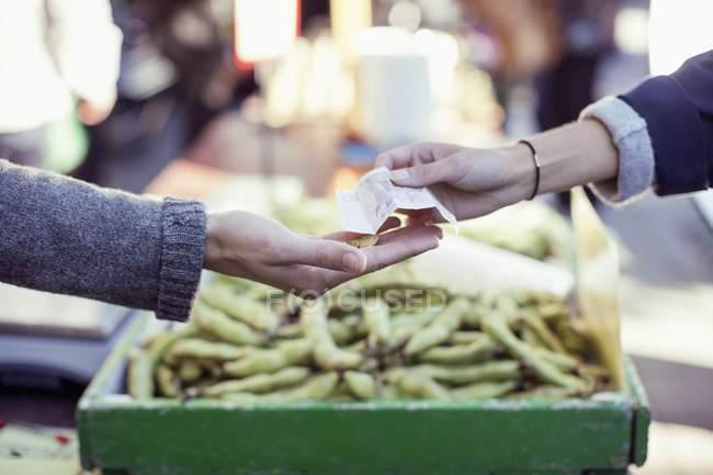 Cropped image of woman paying vegetable vendor — Stock Photo