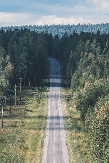 High angle view of road among forest against cloudy sky — Stock Photo