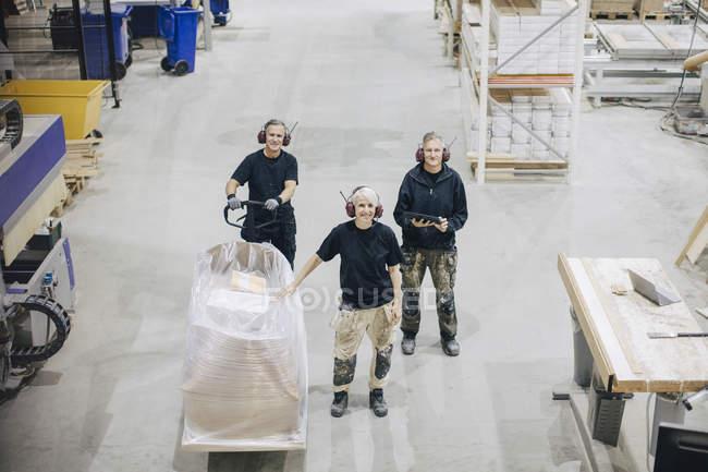 Retrato de alto ángulo de los trabajadores que se encuentran con el palet en la industria - foto de stock