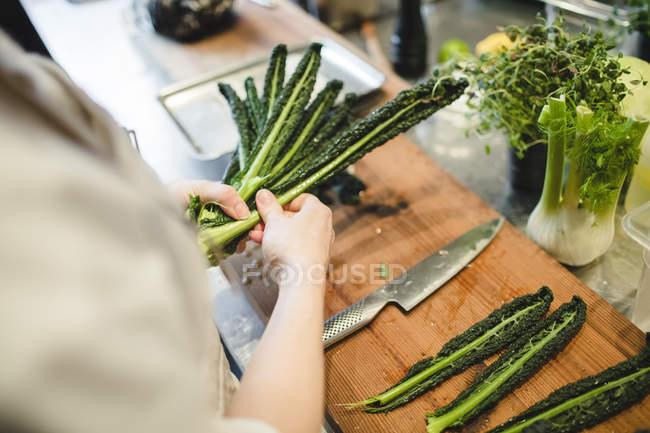 Tronco del cuoco unico femminile preparazione vegetale in cucina — Foto stock