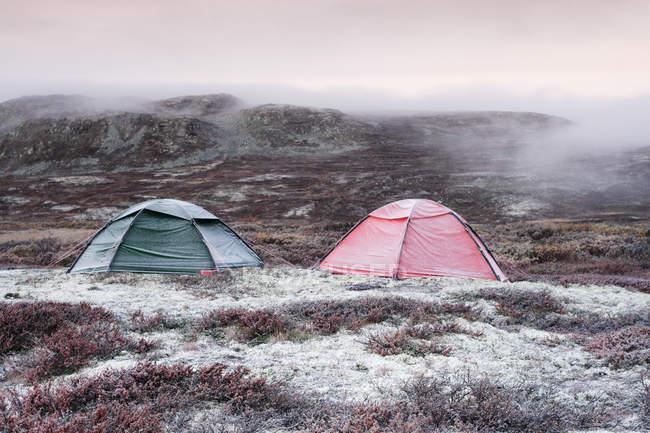 Deux tentes touristiques sur la montagne de Hardangervidda — Photo de stock