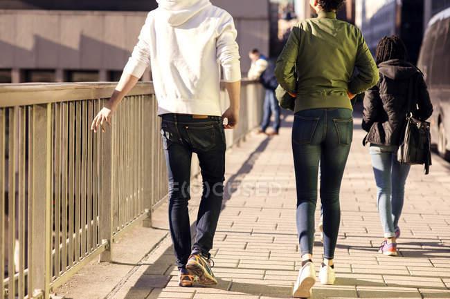Visão traseira de amigos andando na ponte por trilhos na cidade — Fotografia de Stock