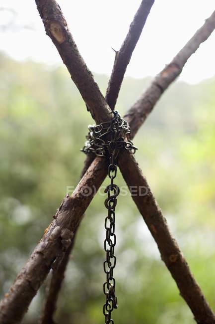 Металеві ланцюг прив'язана до палички в лісі — стокове фото