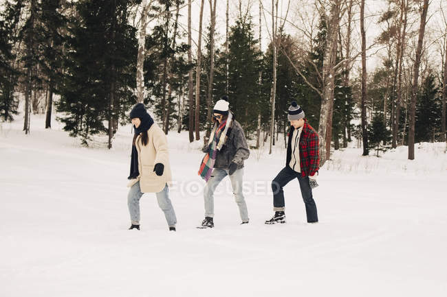 Full length of friends walking on snow by trees at park — Stock Photo