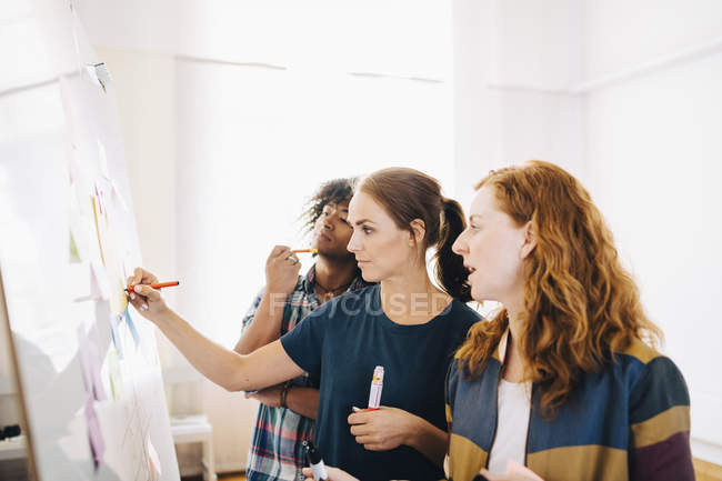 Confident businesswoman writing strategy on whiteboard while standing amidst colleagues at creative office — Stockfoto