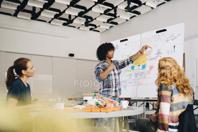 Confident businessman explaining plastic waste management plan to female technicians over whiteboard at creative office — Stockfoto