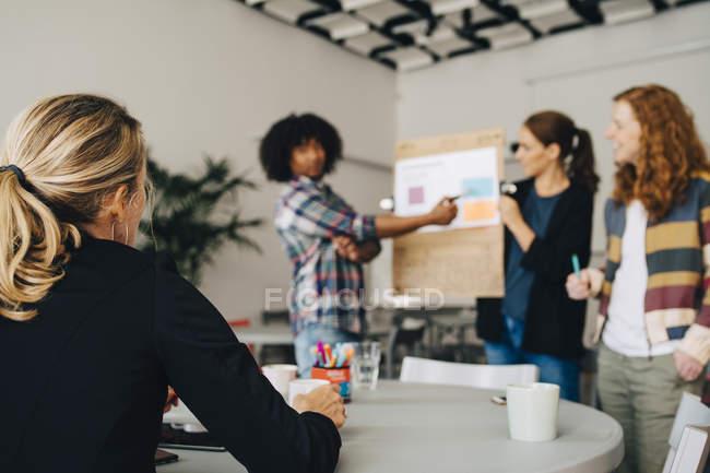 Managerin blickt auf selbstbewusste Techniker, die Strategie auf Plakat im Kreativbüro erklären — Stockfoto