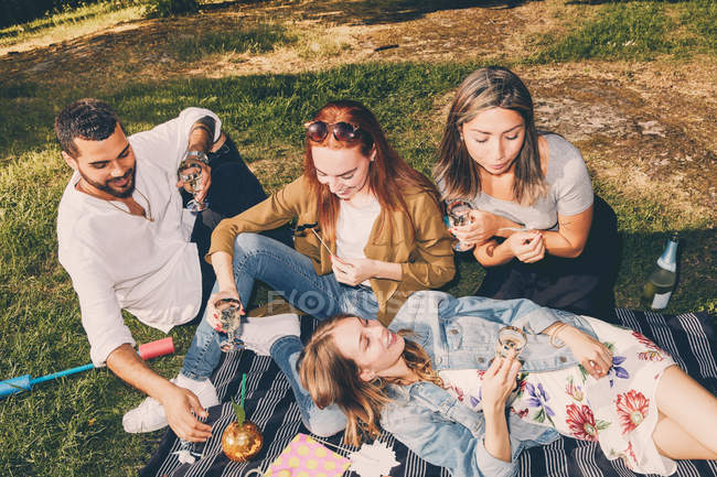 High angle view of happy young multi-ethnic friends enjoying picnic at back yard during summer — Stock Photo