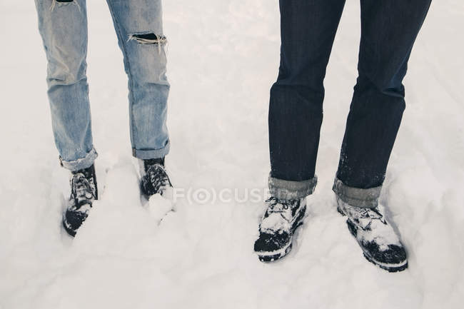 Low section of friends standing on snow covered field — Stock Photo