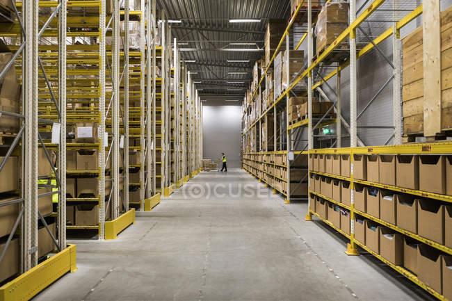 Прохід в пакети на стелажах на складах з підсвічуванням — стокове фото