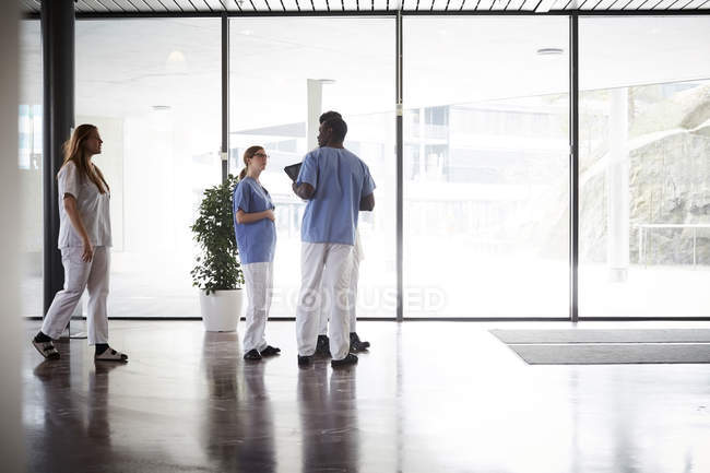 Full length of doctors and nurses discussing while standing in corridor against window at hospital — Stock Photo
