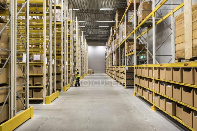 Повна довжина зрілої жіночої складської роботи, що штовхає візок на прохід у промислове будівництво — стокове фото