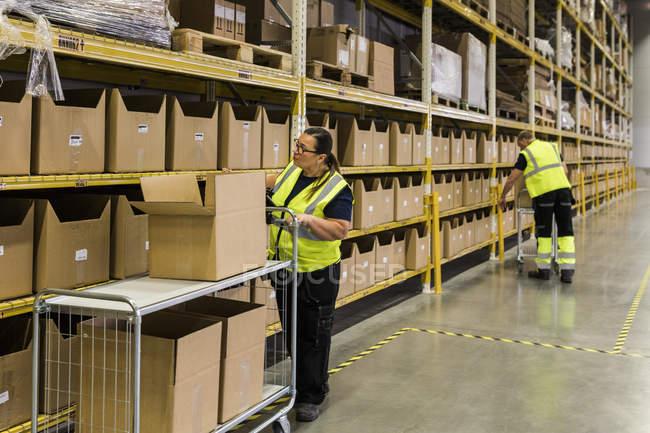 Chariot de poussée femelle pleine longueur avec des boîtes en carton par rack contre un collègue à l'entrepôt — Photo de stock