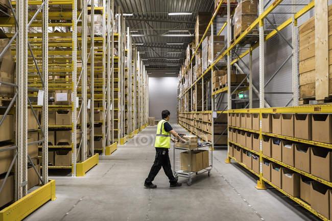 Повна протяжність роботи молодого складу працівника, що штовхає візок на прохід у промислове будівництво — стокове фото