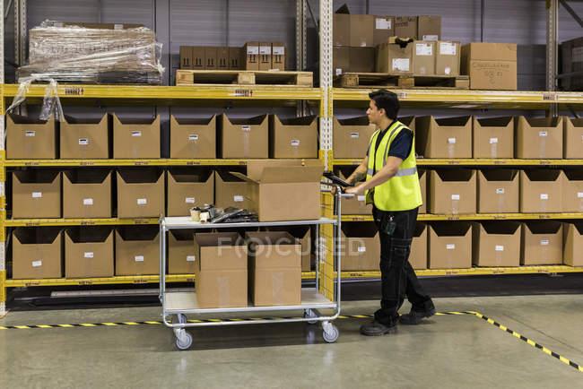 Vista lateral de longitud completa de joven trabajador masculino empujando carro con cajas de cartón por bastidor en el almacén de distribución - foto de stock