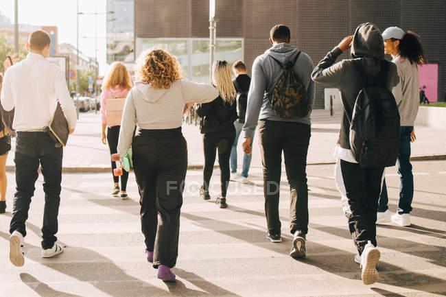Вид сзади друзей, переходящих улицу в городе в солнечный день — стоковое фото