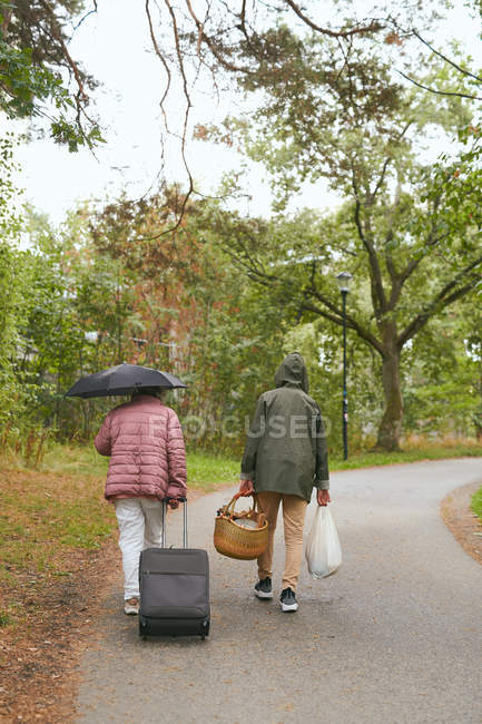 Rear view of grandmother and grandson with luggage walking on road in park during rainy season — Fotografia de Stock