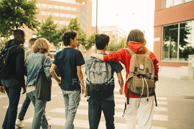 Visão traseira de amigos do sexo masculino cruzando estrada lado a lado na cidade — Fotografia de Stock