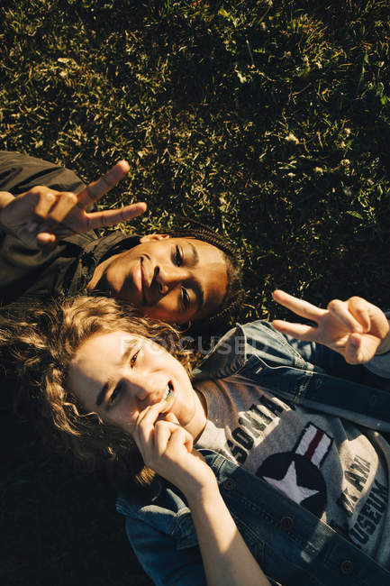 High angle portrait of smiling friends gesturing peace sign while lying on field during sunny day — Stock Photo