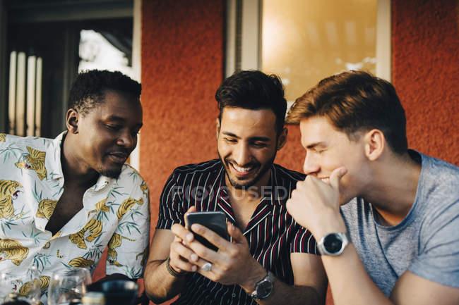 Веселі чоловіки користуються мобільним телефоном, сидячи на задньому дворі. — стокове фото