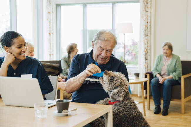Smiling female nurse looking at senior man feeding dog in retirement home — Stock Photo