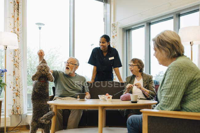 Females looking at elderly man playing with dog at retirement community nursing home — Stock Photo