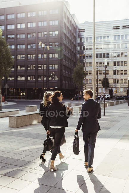 Rear view of entrepreneurs discussing business strategy while walking outdoors — Stock Photo
