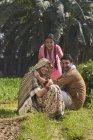 Famiglia indiana sorridente seduta sul campo agricolo — Foto stock