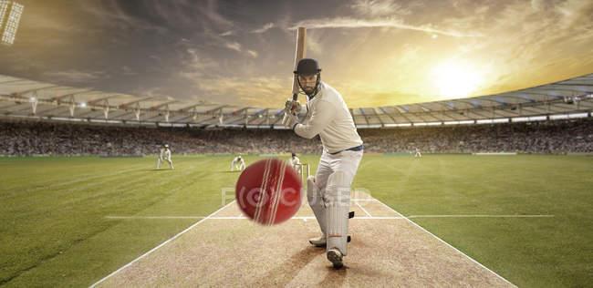 Sportsman playing cricket at stadium, selective focus — стокове фото