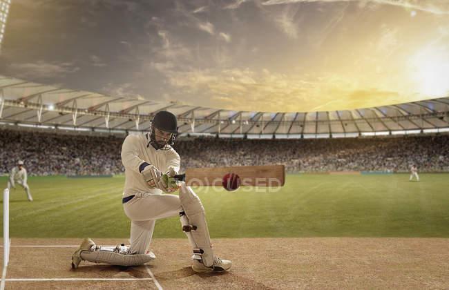 Batsman in action at cricket field, selective focus — Stock Photo