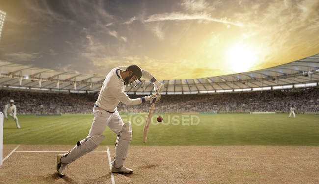 Side view of batsman defending ball during match at stadium — стокове фото