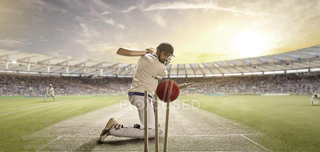 Бетмен удару м'яч крикет, селективний фокус — стокове фото