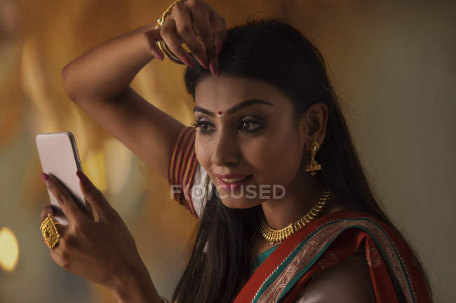 South indian woman getting ready — Stock Photo