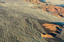 Peru, Ica, Nasca, sightseeing over the lines of Nazca to the sunset, mountains landscape — Stock Photo
