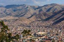 Vista di paesaggio urbano aerea del Perù, Cusco, — Foto stock