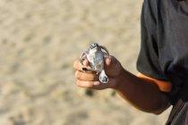 Uomo che tiene la tartaruga in mano sulla spiaggia — Foto stock