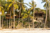 Indonesia, Sulawesi Selatan, Bulukumba, beach houses at tropical coast with palms — Stock Photo