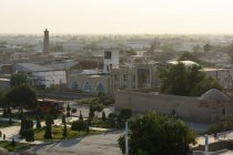 Uzbekistan, Xorazm Province, Xiva, Chiwa Fort, cityscape in evening sunshine from above — Stock Photo