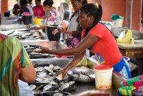 Кабо-Верде, Сао-Висенте, Миндело, люди, работающие на рыбном рынке Минделу . — стоковое фото