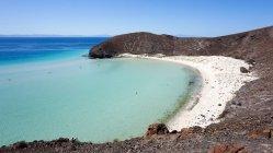 Mexico, Baja California Sur, La Paz, sandy beach of Balandra Beach aerial view — Stock Photo