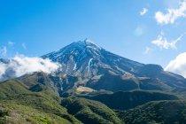 Новая Зеландия, Таранаки, Эгмонт Национальный парк, покрытые снегом гора в национальном парке «Эгмонт», mounatins, заросший лесом — стоковое фото
