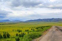 Territorio dello Yukon, Yukon, Canada, su the Dampster Highway a giudicare North, suggestivo paesaggio con strada attraverso la verde e nella natura, montagne su priorità bassa — Foto stock