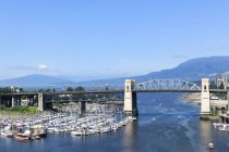 Canada, British Columbia, Vancouver, Private marina in Vancouver by the bridge, aerial view — Stock Photo