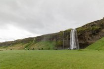 Iceland, Scenic natural landscape with Svartifoss waterfall abd green meadow — Stock Photo